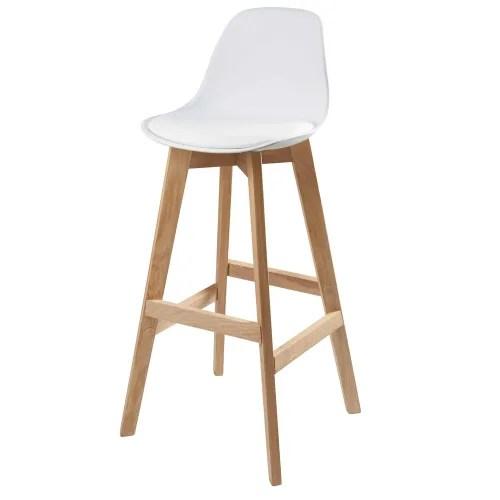 chaise de bar style scandinave blanche et chene maisons du monde