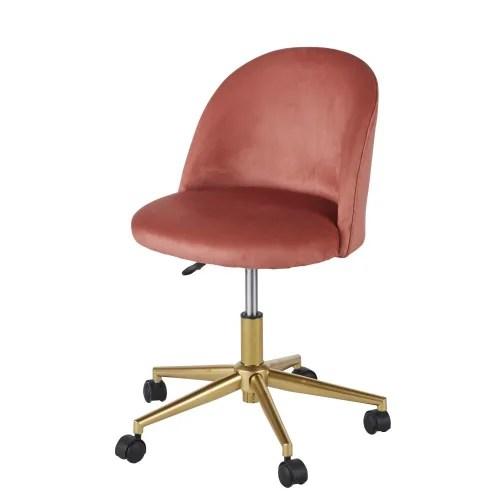 chaise de bureau vintage a roulettes en velours terracotta maisons du monde