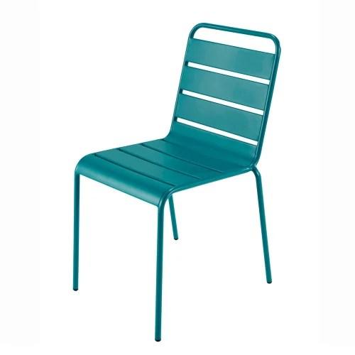 chaise de jardin en metal bleu canard maisons du monde