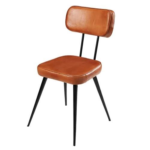 chaise en cuir de chevre et metal noir maisons du monde