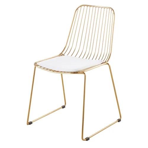 Chaise En Metal Dore Et Coton Blanc Huppy Maisons Du Monde