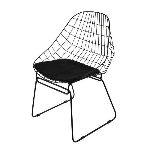 chaise en metal noire maisons du monde