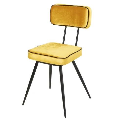 chaise en velours jaune et metal noir maisons du monde