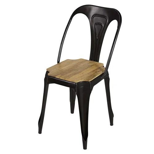chaise indus en metal noir mat et manguier maisons du monde