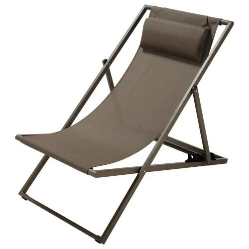 chaise longue chilienne pliante en metal taupe maisons du monde