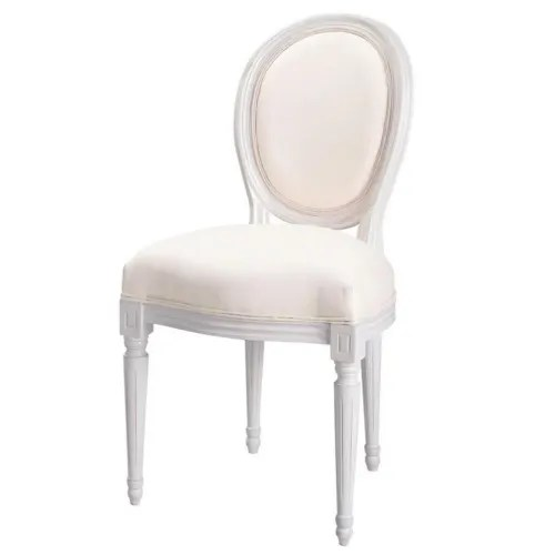 chaise medaillon en coton ivoire et bois blanc maisons du monde