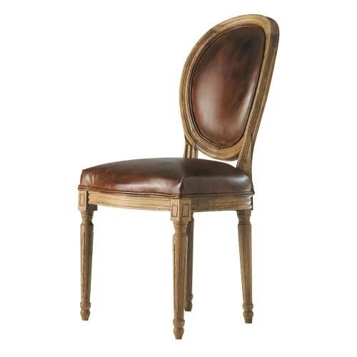 chaise medaillon en cuir et chene massif marron maisons du monde