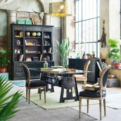 chaise medaillon en cuir et chene massif noire maisons du monde