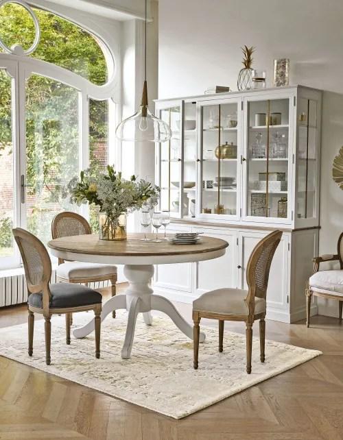 chaise medaillon en lin gris fonce et cannage en rotin maisons du monde