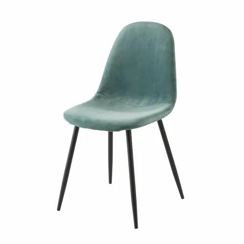 chaise style scandinave en velours bleu turquoise maisons du monde