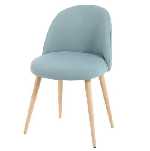 chaise vintage bleue et bouleau massif maisons du monde