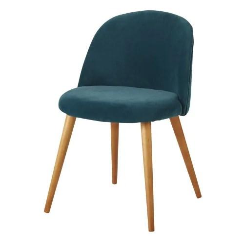 chaise vintage en velours bleu et bouleau massif maisons du monde