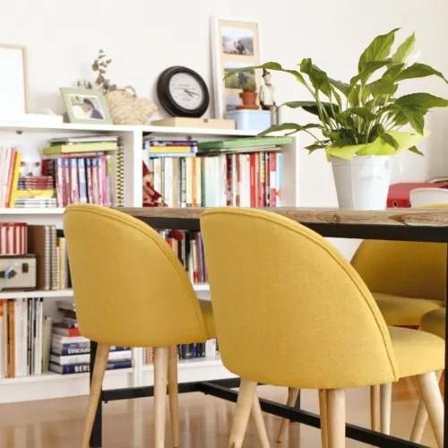 chaise vintage jaune et bouleau massif maisons du monde