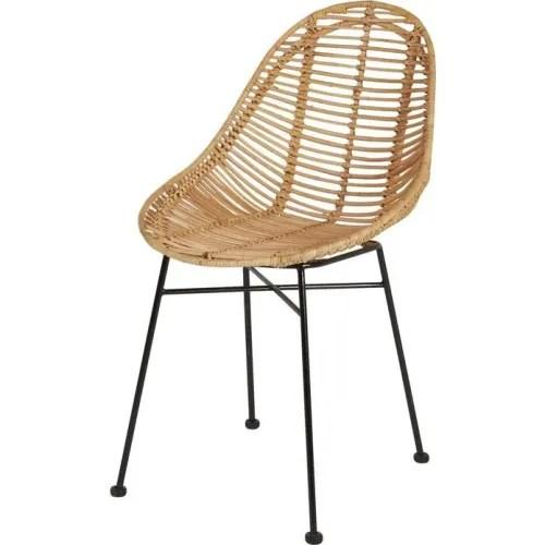 chaises en rotin et metal noir h83 x4 maisons du monde