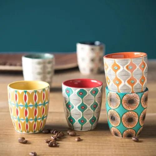 coffret 6 tasses en faience multicolore