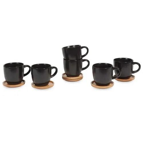 coffret 6 tasses et soucoupes en gres noir maisons du monde