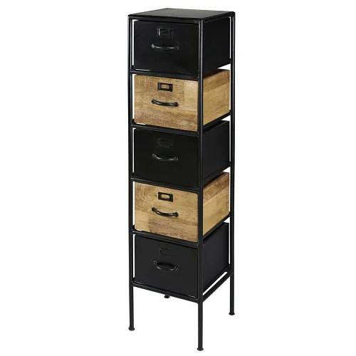 colonne de rangement 5 tiroirs en manguier et metal noir maisons du monde