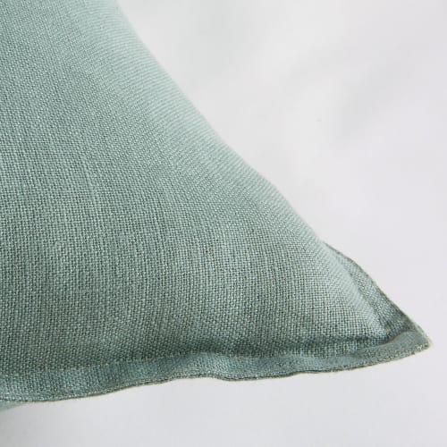 coussin en lin lave vert de gris 45x45 maisons du monde