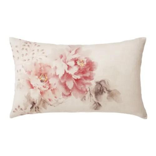 Coussin En Lin Rose Imprime Floral 30x50 Leonia Maisons Du Monde