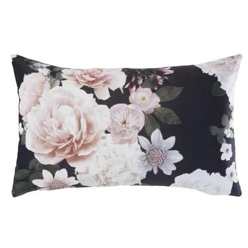 Coussin Rose Et Noir Motif Floral 30x50 Alba Maisons Du Monde