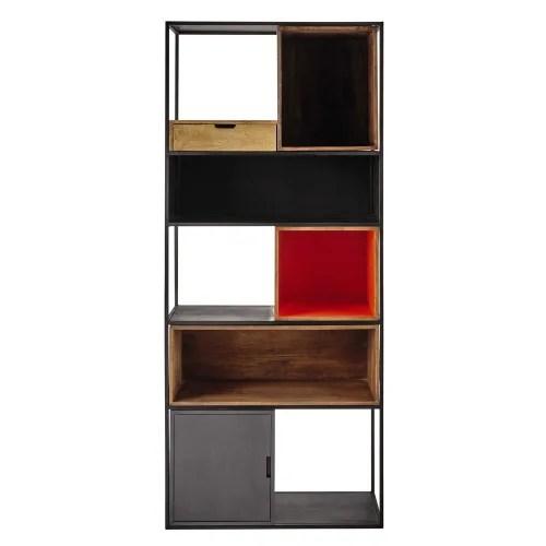 etagere 1 tiroir 1 porte en metal et manguier tricolore maisons du monde