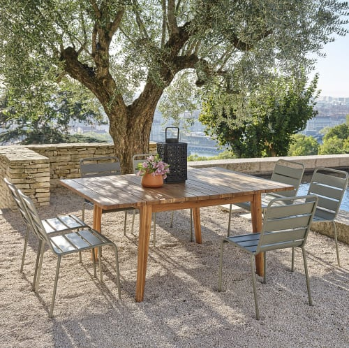 extendable solid acacia 6 8 seater square garden table l120 160 maisons du monde