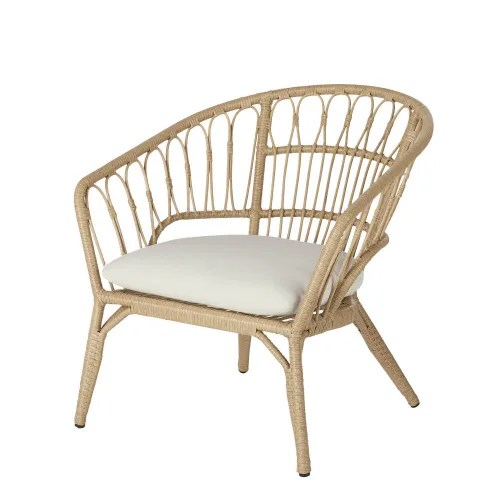 fauteuil de jardin en resine imitation rotin et toile blanche maisons du monde