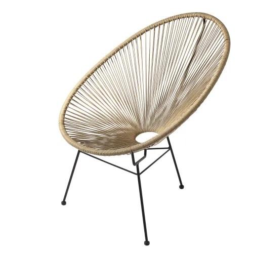 fauteuil de jardin rond en resine imitation rotin maisons du monde