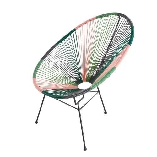 fauteuil de jardin rond vert gris et rose maisons du monde