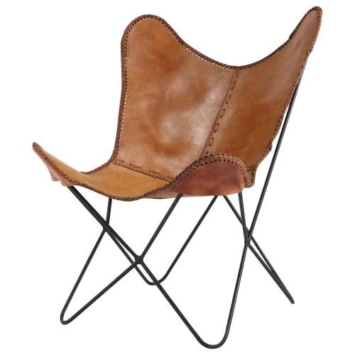 fauteuil en croute de cuir camel maisons du monde