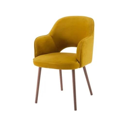 fauteuil en velours jaune moutarde maisons du monde