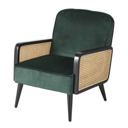 fauteuil en velours vert cannage en rotin maisons du monde