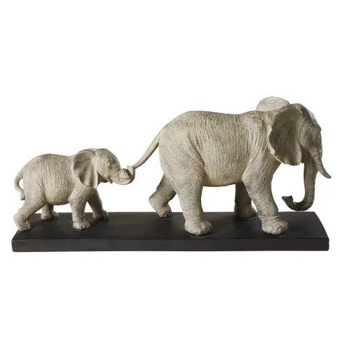 Figurine With 2 Grey Elephants On A Black Metal Base H21 Marche Des Elephants Maisons Du Monde