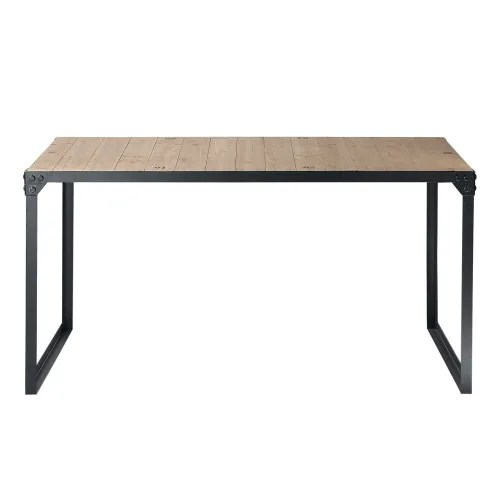 fir and metal 6 8 seater industrial dining table l 140 maisons du monde