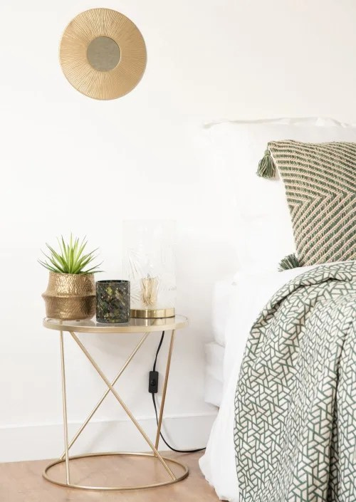 gold metal and glass side table maisons du monde