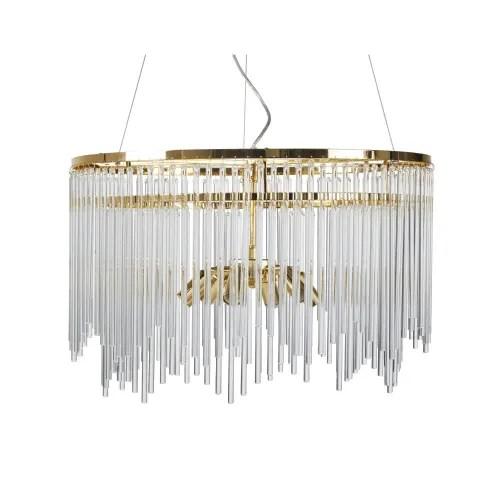 Gold Metal And Glass Tube Pendant Light Princeville Maisons Du Monde