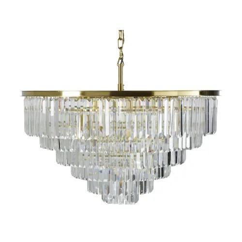 Gold Metal Chandelier With Bevelled Crystal Beads Flandres Maisons Du Monde