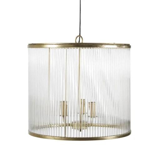 Golden Metal And Glass Drum 3 Arm Pendant Light Soho Maisons Du Monde