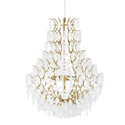Golden Metal And Opaline Glass Pendant Light With Drops Brodway Maisons Du Monde