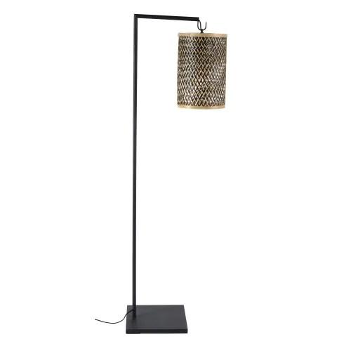 lampadaire en metal noir et abat jour en fibre vegetale h151 maisons du monde