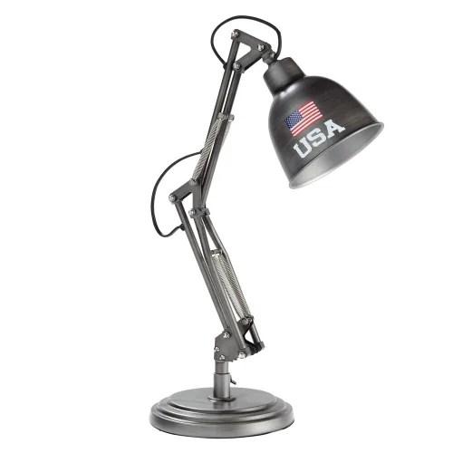Lampe De Bureau Indus En Metal Gris Paterson Andrews Maisons Du Monde