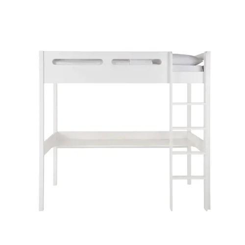 lit mezzanine avec bureau en pin blanc maisons du monde