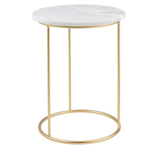 marble and matte gold metal side table maisons du monde