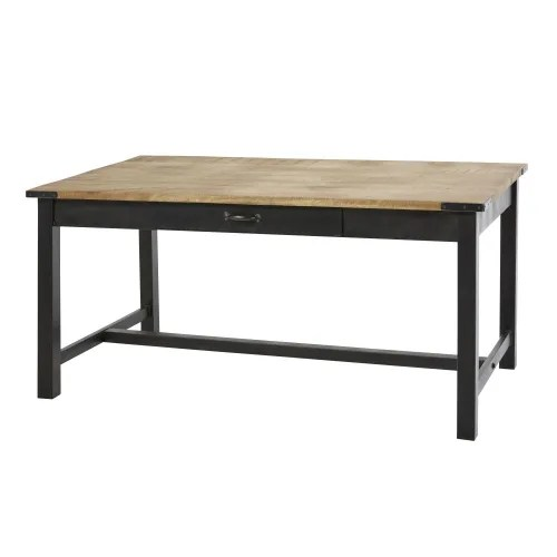 metal and mango wood 6 8 seater dining table w160 maisons du monde