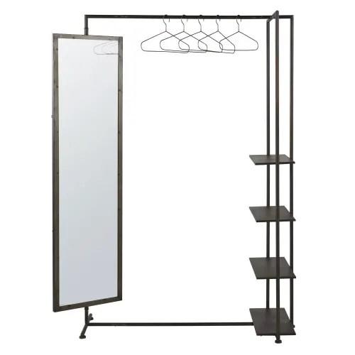 Metal Hanging Rack With Mirror And Shelves Blake Maisons Du Monde