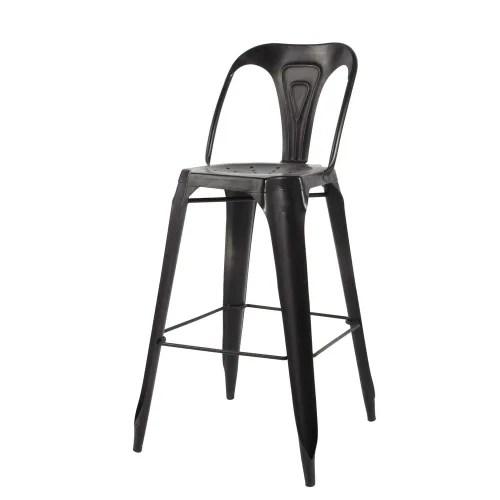 Metal Industrial Bar Chair In Black Multipl S Maisons Du Monde