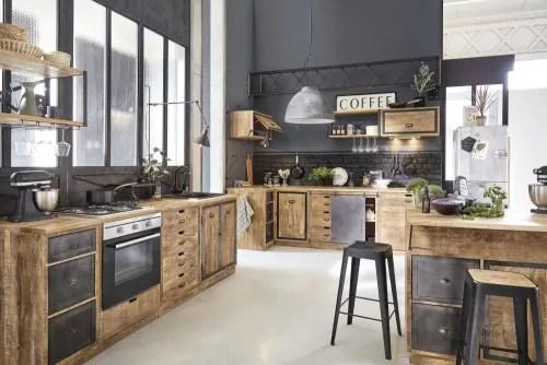 meuble bas d angle de cuisine 1 porte en manguier massif maisons du monde