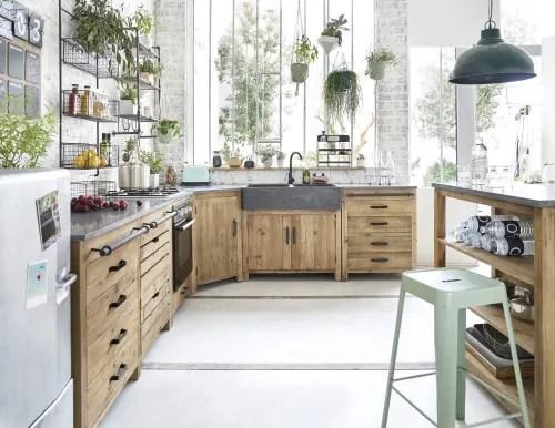 meuble bas d angle de cuisine en pin recycle l97 maisons du monde
