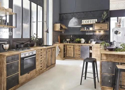 meuble bas de cuisine 3 tiroirs en manguier massif maisons du monde