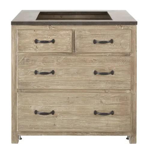 meuble bas de cuisine 4 tiroirs en pin recycle maisons du monde